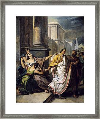 Julius Caesar 100-44 Bc On His Way To The Senate On The Ides Of March Oil On Canvas Study Framed Print by Abel de Pujol