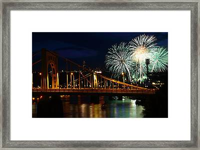 July 4th Fireworks In Pittsburgh Framed Print