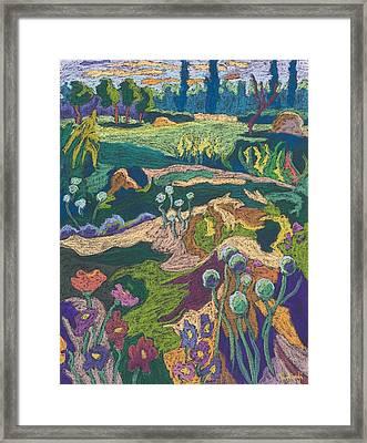 July Terrain, 2008 Pastel On Paper Framed Print by Marta Martonfi-Benke