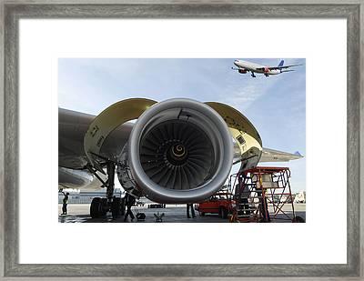 Jumbo Jet Engine And Aerospace Framed Print by Christian Lagereek