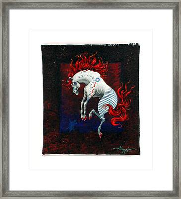 Framed Print featuring the painting Jump by David  Chapple