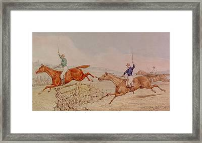 Jumping A Fence Framed Print by Henry Thomas Alken