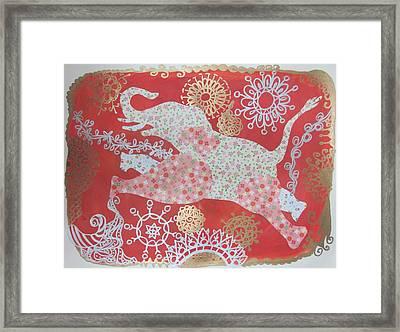 Jumping Elephant Framed Print