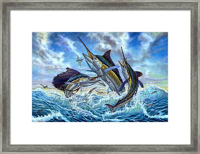 Jumping Grand Slam And Flyingfish Framed Print by Terry  Fox