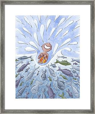 Jumping In Framed Print by Christy Beckwith