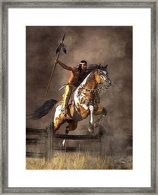 Jumping Mustang Framed Print by Daniel Eskridge