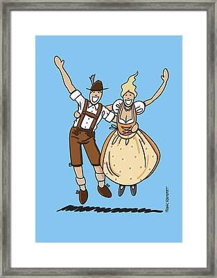 Jumping Oktoberfest Lovers Framed Print by Frank Ramspott