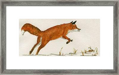 Jumping Red Fox Framed Print by Juan  Bosco