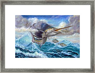 Jumping Sailfish And Small Fish Framed Print
