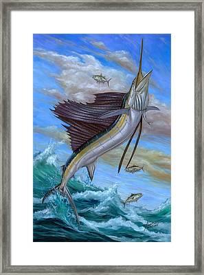Jumping Sailfish Framed Print