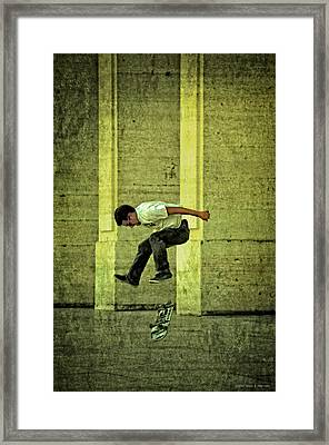 Jumps And Flips Framed Print by Mary Machare