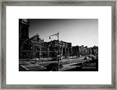 junction of west 122nd street and Malcolm X boulevard Lennox Avenue Harlem new york city Framed Print by Joe Fox