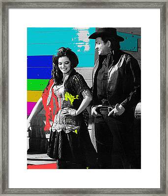 Framed Print featuring the photograph June Carter Cash Johnny Cash In Costume Old Tucson Az 1971-2008 by David Lee Guss