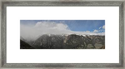 June Snow Squall Coming Down The Valley Framed Print