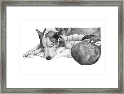 Framed Print featuring the drawing Juneau And James -031 by Abbey Noelle