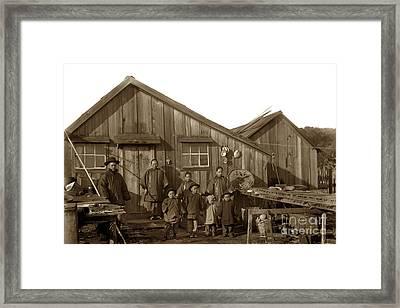 Jung San Choy And Chinese Family Pescadero Village Pebble Beach California Circa 1895 Framed Print by California Views Mr Pat Hathaway Archives