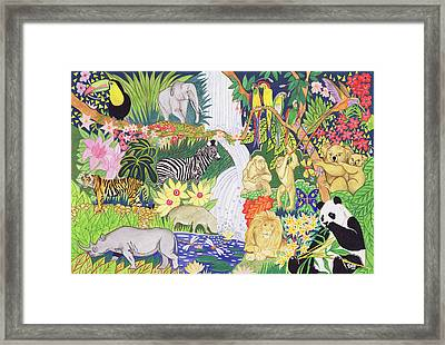 Jungle Animals Wc Framed Print by Tony Todd