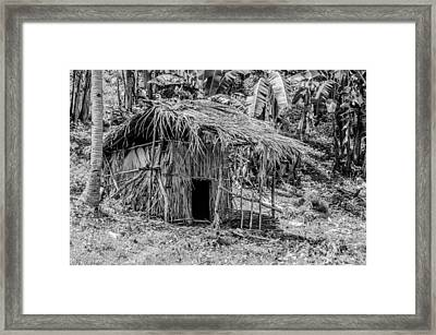 Jungle Hut In A Tropical Rainforest - Black And White Framed Print