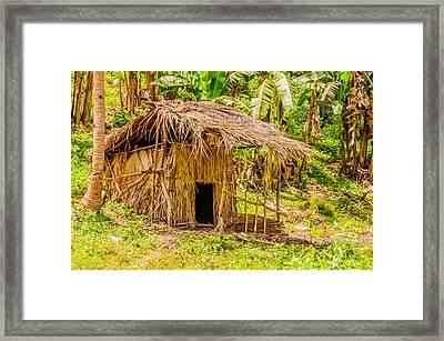 Jungle Hut In A Tropical Rainforest Framed Print