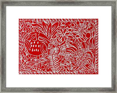 Jungle Scene With Toucan Red On White Framed Print