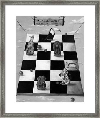 Jungle Wars Edit 3 Bw Framed Print by Leah Saulnier The Painting Maniac