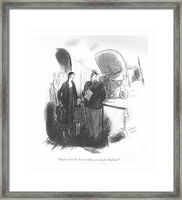 Junior Lost His Hat In Ohio Framed Print by Richard Decker