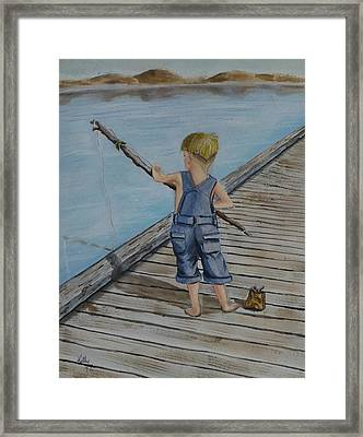 Juniors Amazing Fishing Pole Framed Print