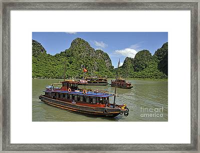 Junk Boats In Halong Bay Framed Print by Sami Sarkis