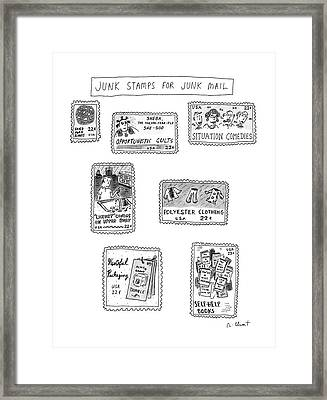 Junk Stamps For Junk Mail Framed Print by Roz Chast