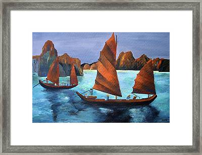 Framed Print featuring the painting Junks In The Descending Dragon Bay by Tracey Harrington-Simpson