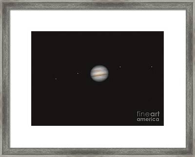 Jupiter And 4 Galilean Moons Framed Print by John Chumack