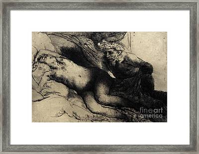 Jupiter And Antiope Framed Print by Rembrandt