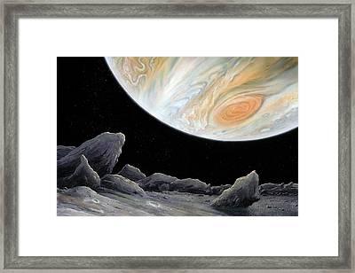 Jupiter From Its Innermost Moon Metis Framed Print by Richard Bizley