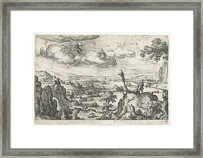 Jupiter In His Car And Another God, Anoniem Hans Bol Framed Print
