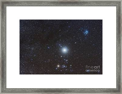 Jupiter In The Constellation Taurus Framed Print by Alan Dyer