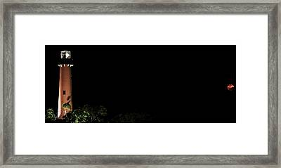 Jupiter Lighthouse Moon Framed Print