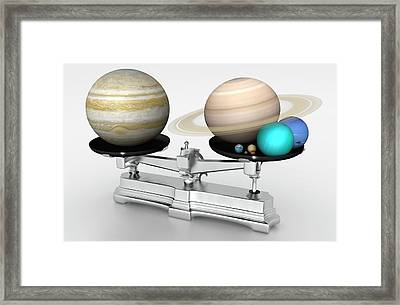 Jupiter Mass Compared With Other Planets Framed Print by Mark Garlick