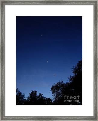 Jupiter, Venus & Moon Conjunction, 22412 Framed Print by John Chumack