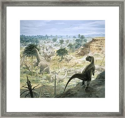 Jurassic Dinosaurs, Artwork Framed Print