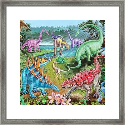Jurassic Swamp Variant 1 Framed Print by Mark Gregory