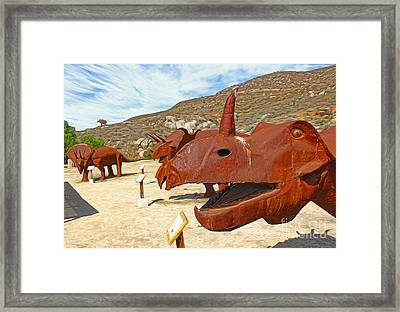 Jurupa Dinosaurs - Triceratops Group Framed Print by Gregory Dyer