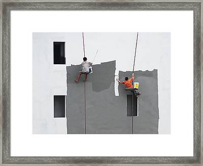 Just A Jump To The Left Framed Print by Wayne Pearson