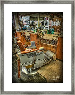 Framed Print featuring the photograph Just A Little Off The Top - Barber Shop by Lee Dos Santos