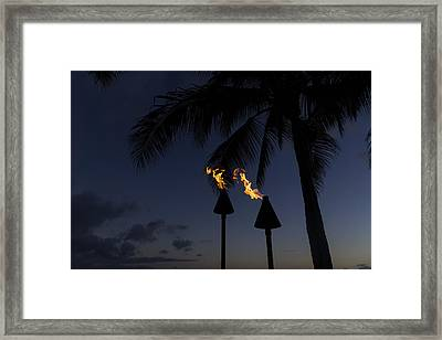 Just After Sunset The Beach Party Is Starting Framed Print