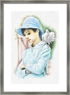 Just Audrey Framed Print by Mo T