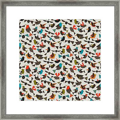 Just Birds China White Framed Print by Sharon Turner