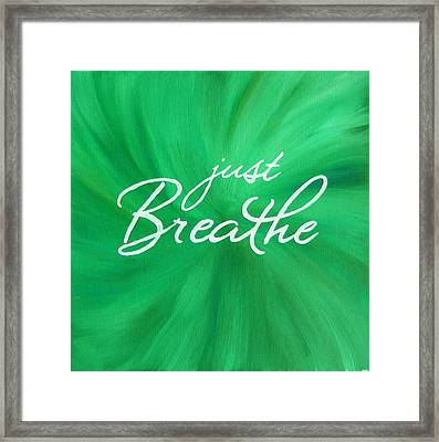 Just Breathe - Green Framed Print by Michelle Eshleman