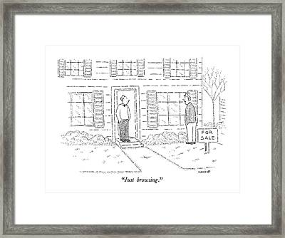 Just Browsing Framed Print by Robert Mankoff