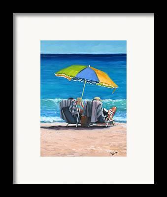 People On Beach Framed Prints