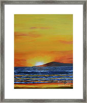 Framed Print featuring the painting Just Left Maui by Suzette Kallen